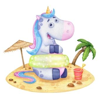 Um unicórnio engraçado e fofo na praia em um colo inflável no verão viaja. ilustração em aquarela para cartões ou impressão
