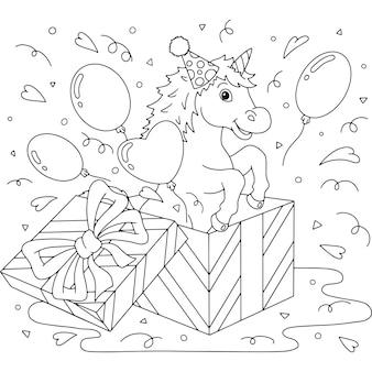 Um unicórnio engraçado pula de uma caixa de presente tema de aniversário cavalo bonito página do livro para colorir para crianças