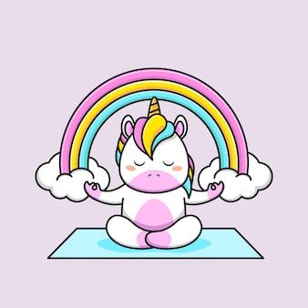Um unicórnio fofo meditando com um arco-íris de fundo