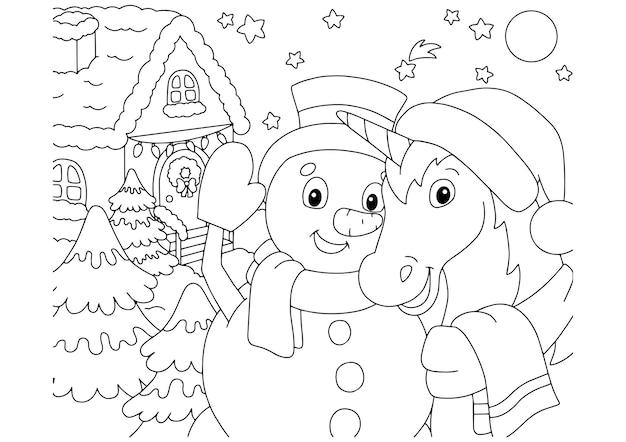 Um unicórnio mágico e um boneco de neve celebram o ano novo juntos. página de livro para colorir para crianças