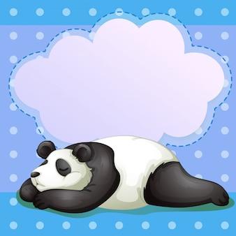 Um urso adormecido com um texto explicativo vazio