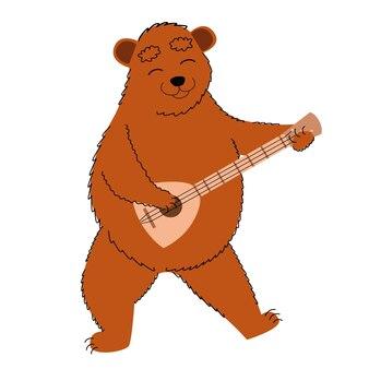Um urso com um símbolo tradicional russo balalaika viaje para a rússia em um estilo simples