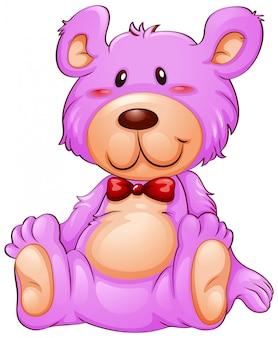 Um urso de peluche cor-de-rosa no fundo branco