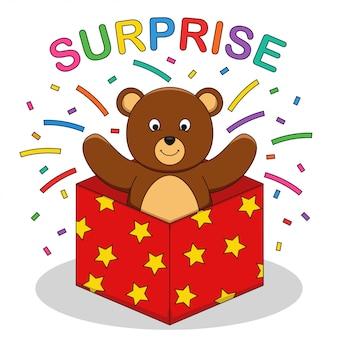 Um urso fez uma ilustração do vetor de surpresa