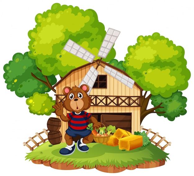 Um urso na ilustração da fazenda