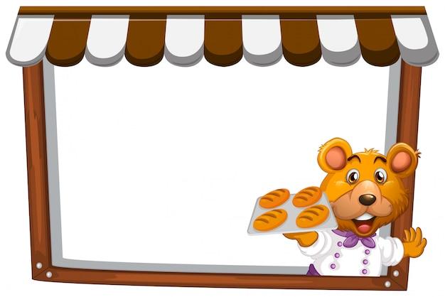 Um urso no modelo de nota