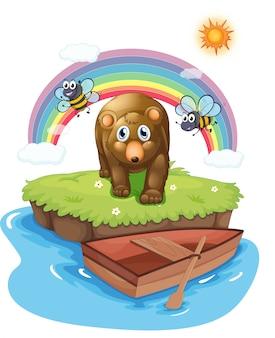 Um urso pardo e o barco de madeira