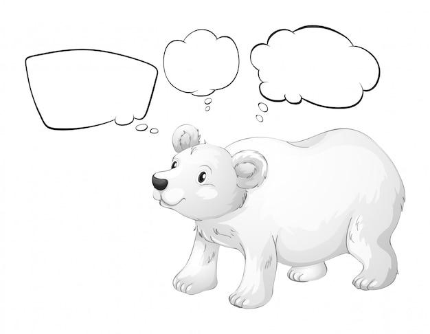 Um urso polar branco com textos explicativos vazios