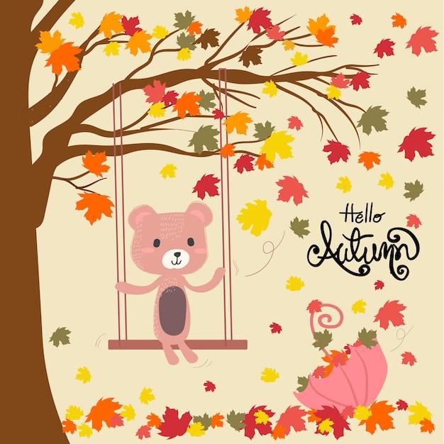 Um, urso teddy, localização, ligado, um, balanço, sob, queda, licença, árvore