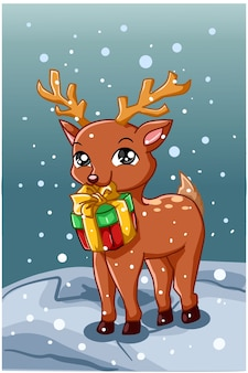 Um veado pequeno e fofo carregando um presente de natal no inverno