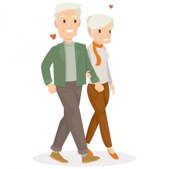 Um velho casal namorando no dia dos namorados