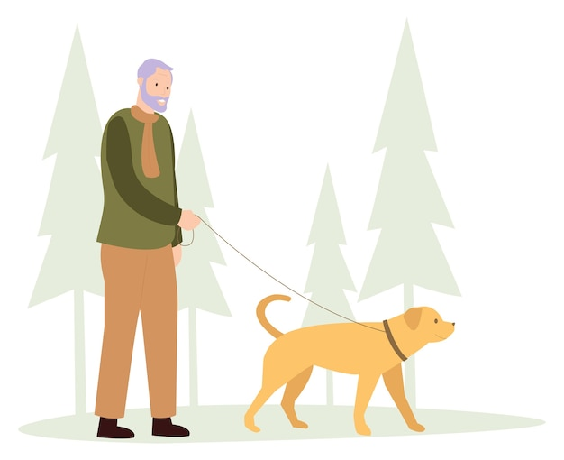 Um velho está passeando com um cachorro de estimação no inverno