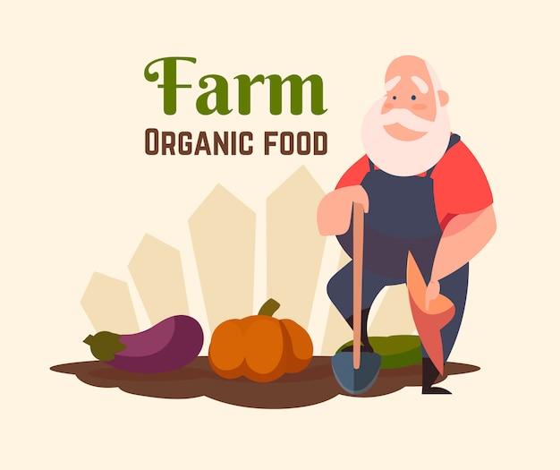 Um velho fazendeiro com uma pá em uma horta.