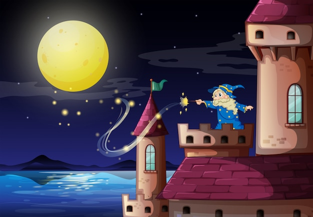 Um velho mago no porto do castelo