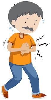 Um velho tendo dor de estômago