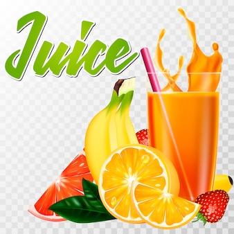 Um verdadeiro copo de suco com frutas e um splash
