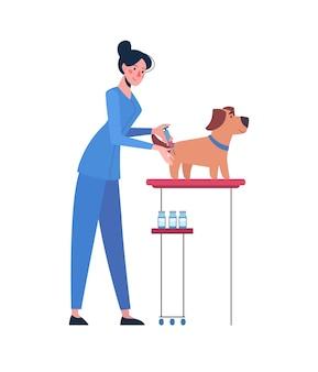 Um veterinário que vacina um cachorro