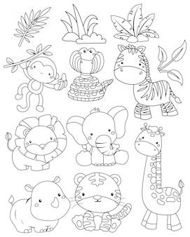 Um vetor de animais da selva em preto e branco