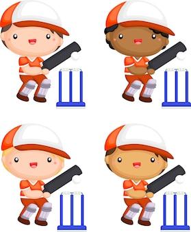 Um vetor de jogadores de críquete em diferentes tons de pele