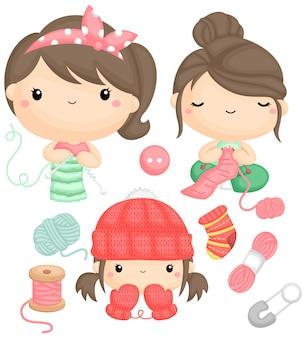 Um vetor de meninas tricotando e suas roupas acabadas