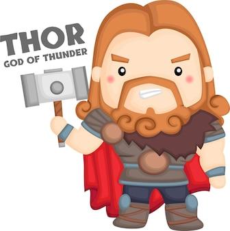 Um vetor de thor da mitologia nórdica