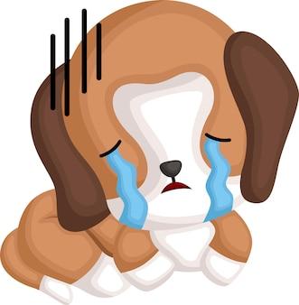 Um vetor de um beagle chorando