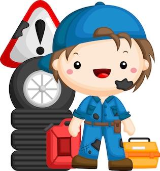 Um vetor de um mecânico com ferramentas e equipamentos