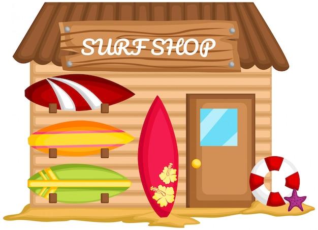 Um vetor de uma barraca de surf na praia