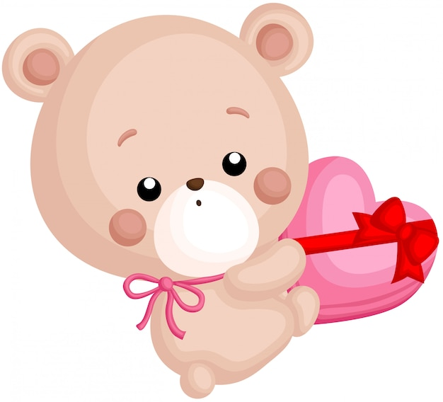 Um, vetorial, de, cute, pequeno urso, segurando, um, chocolate, caixa coração