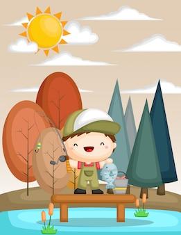 Um, vetorial, de, um, criança, pesca, em, um, lago, em, a, outono, estação