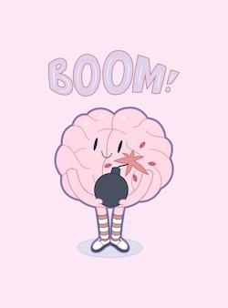 Um, vetorial, esboçado, caricatura plana, ilustrado, cartaz, de, um, cérebro