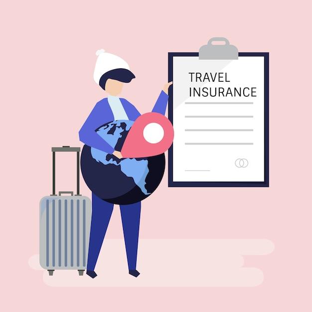 Um viajante com um documento de apólice de seguro de viagem