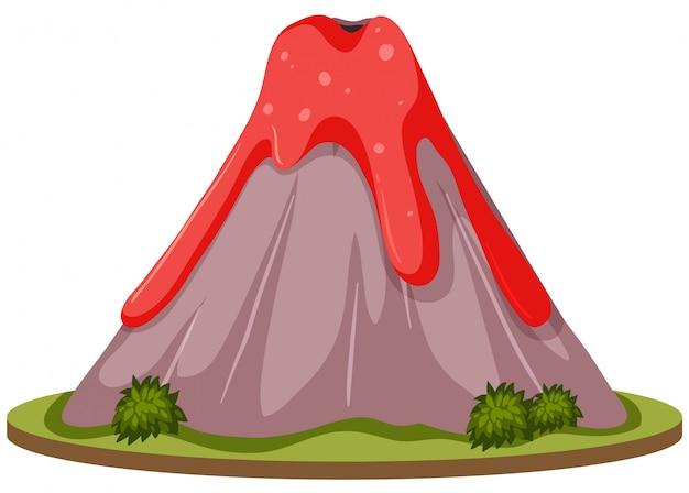 Um vulcão no fundo branco