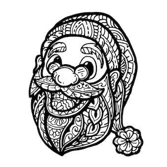 Um zentangle da cabeça de papai noel isolado no fundo branco.