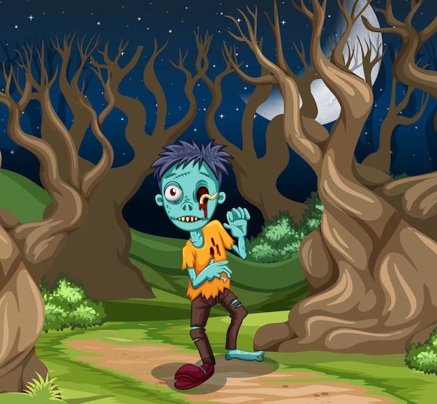 Um zumbi na floresta