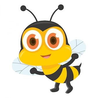 Uma abelha bonita andando e mostrando sua picada