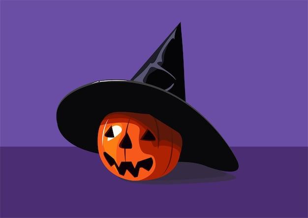 Uma abóbora laranja com um rosto em um chapéu pontudo para halloween ilustração vetorial halloween outono