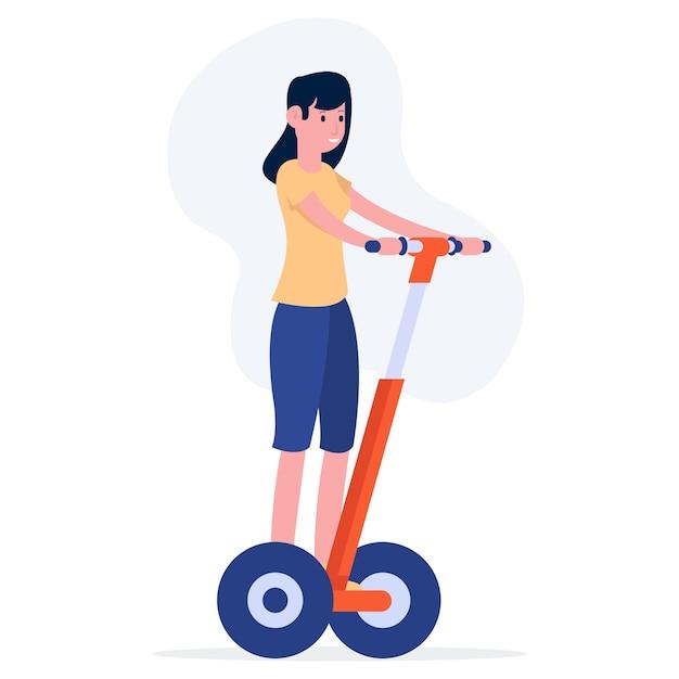 Uma adolescente está andando de bicicleta elétrica no meio da cidade