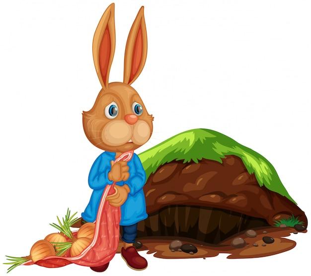 Uma agricultura de coelho bonito dos desenhos animados