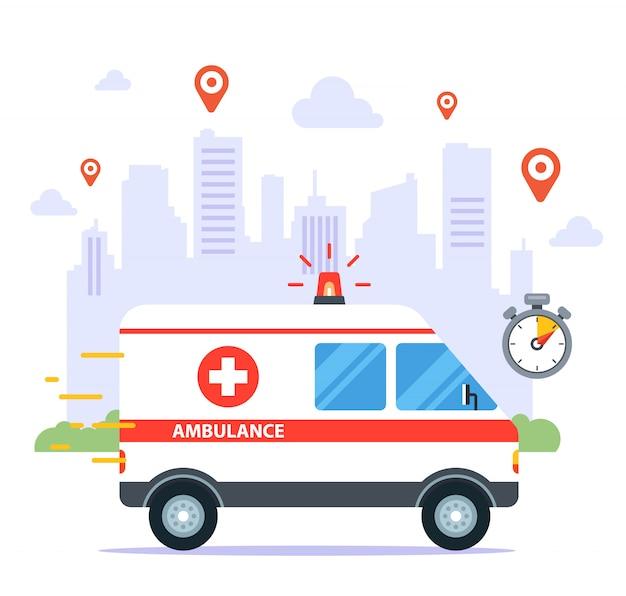 Uma ambulância viaja para chamar um paciente doente. ilustração plana.