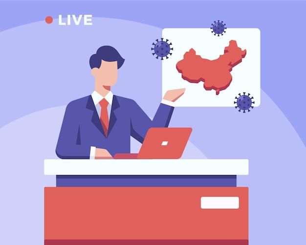 Uma âncora de notícias está transmitindo atualizações ao vivo sobre o coronavirus