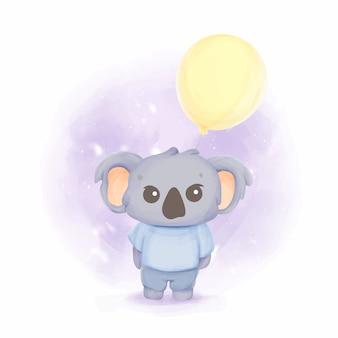 Uma aquarela de coala bebê irritado