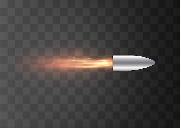Uma bala voadora com um rastro de fogo. isolado em um fundo transparente. ilustração.
