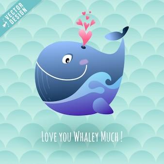 Uma baleia feliz com corações
