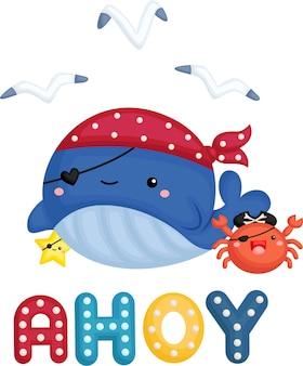 Uma baleia fofa vestindo uma fantasia de pirata com um pequeno caranguejo ao lado
