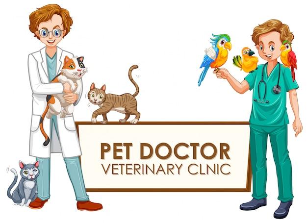 Uma bandeira da clínica veterinária