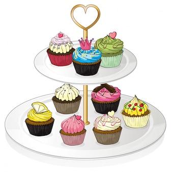 Uma bandeja com cupcakes