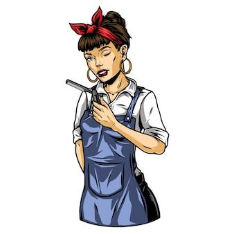 Uma barbeira bonita piscando o olho, usando brincos de camisa de avental bandana e segurando uma ilustração vetorial de navalha reta