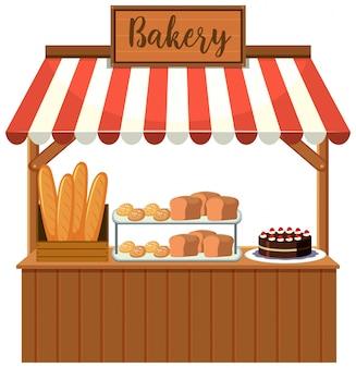 Uma barraca de comida de padaria