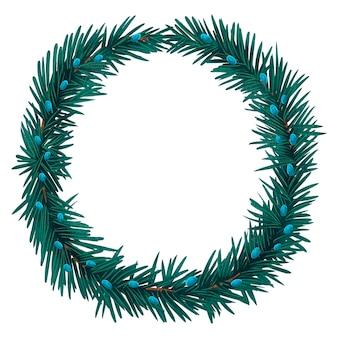 Uma bela ilustração de uma coroa de flores de ano novo feita de galhos de uma árvore de natal ou pinheiro, bagas verdes e azuis